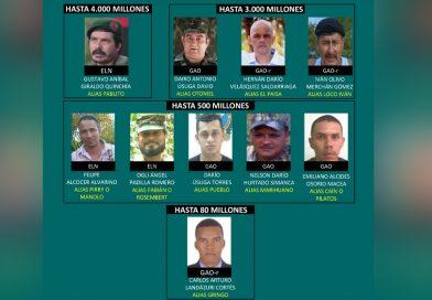 Lista de los delincuentes más buscados en Colombia, y montos de recompensas